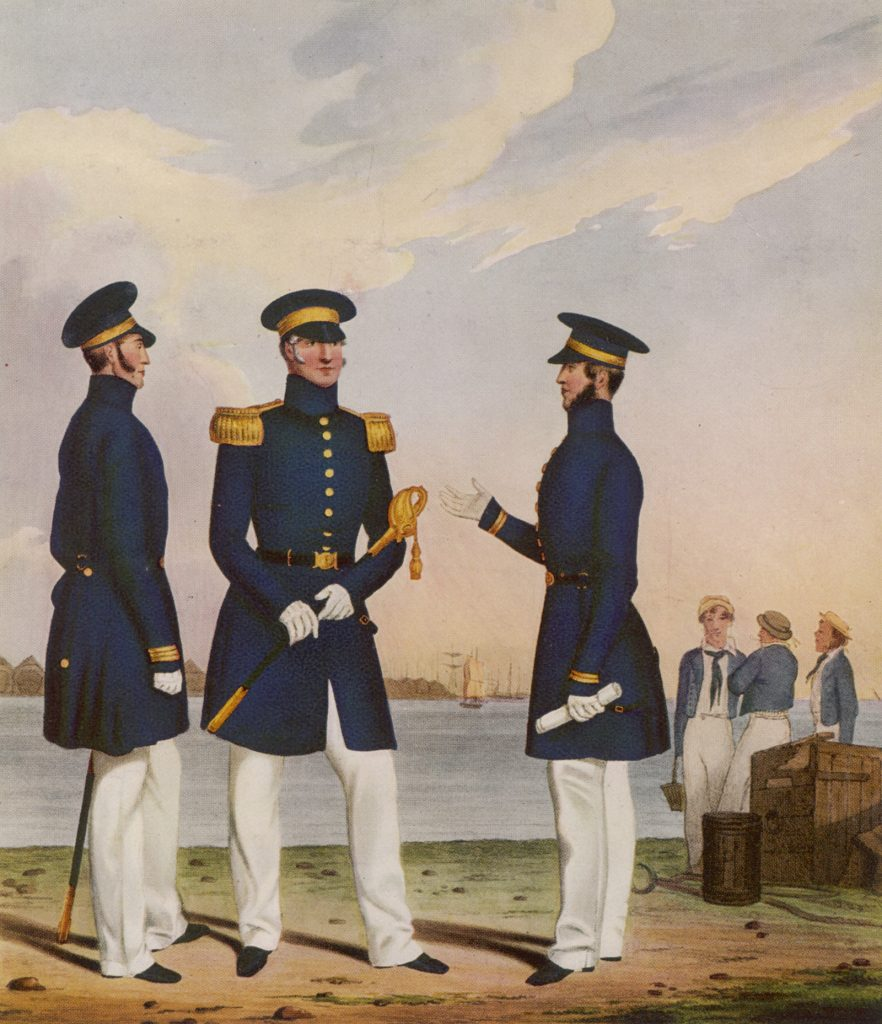 Picture of 19th century naval officers wearing navy blue uniforms