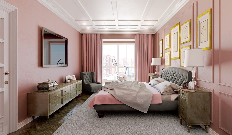 Master bedroom in pink and gray