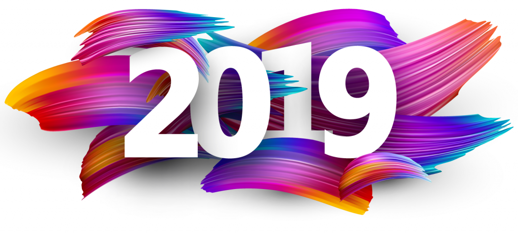 2019 colorful background with brush strokes