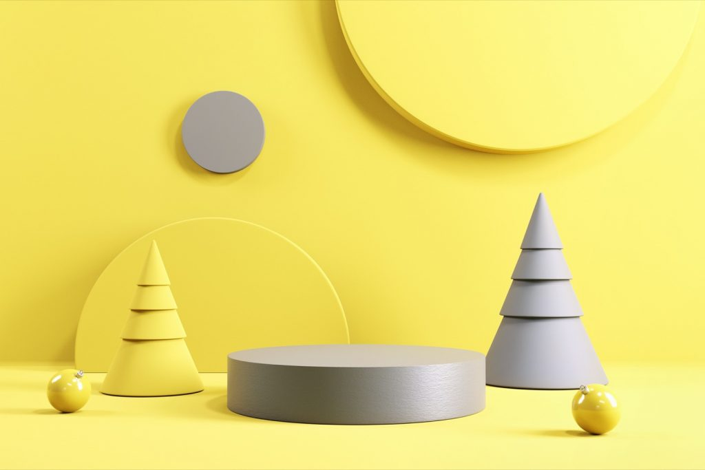 3d graphic design with yellow and gray geometric forms