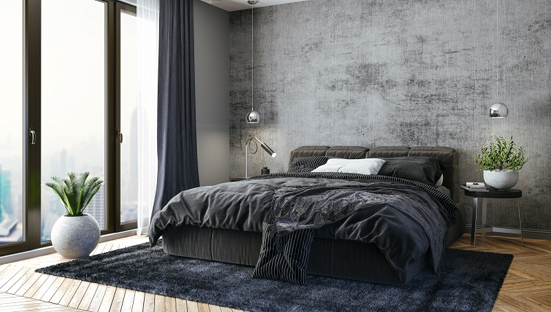 black and gray bedroom interior design