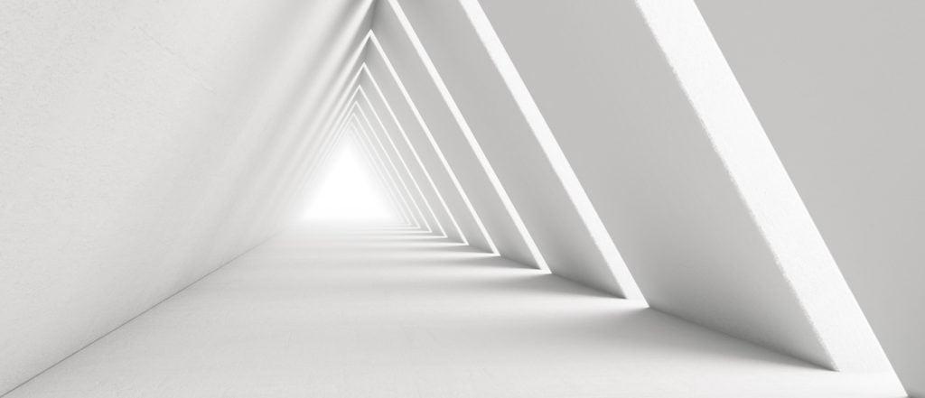 White triangular hallway
