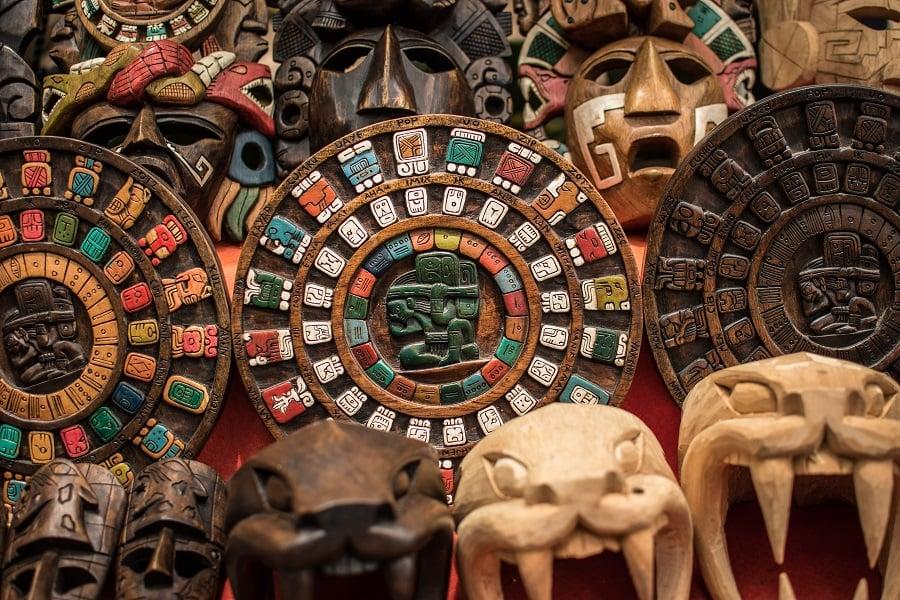 Mayan art symbols and colors used in Mayan calendar
