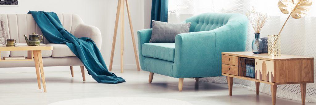 Interior design with blue-green home decor