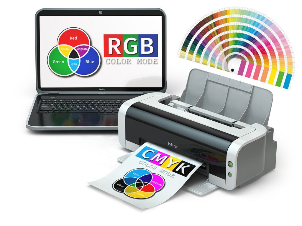 CMYK, RGB and Pantone color models. Laptop, printer and color swatches