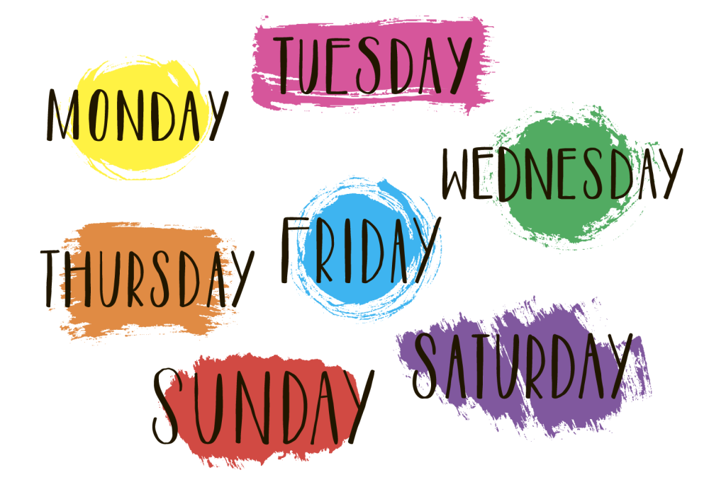 Handwritten text with days and colors of the week