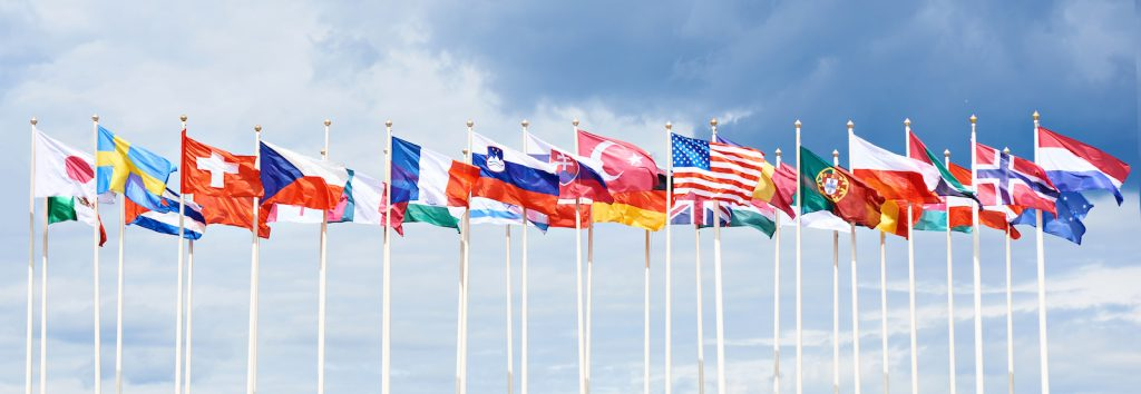 Different Country Flags Together