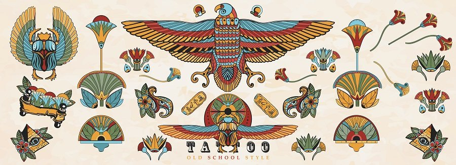 Egyptian tattoo art with symbols and colors from ancient Egypt