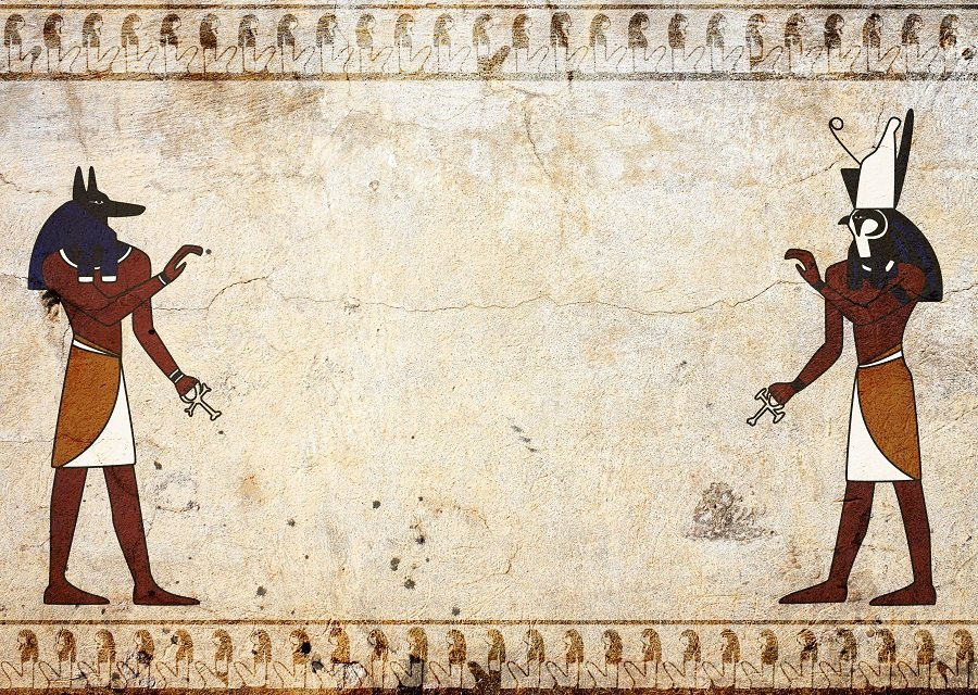 Egyptian paintings depicting Anubis and Horus