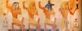 Ancient Egypt scene, mythology. Egyptian gods and pharaohs.