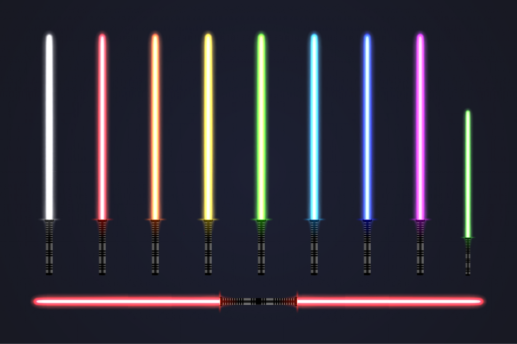Collection of glowing lightsabers in different colors
