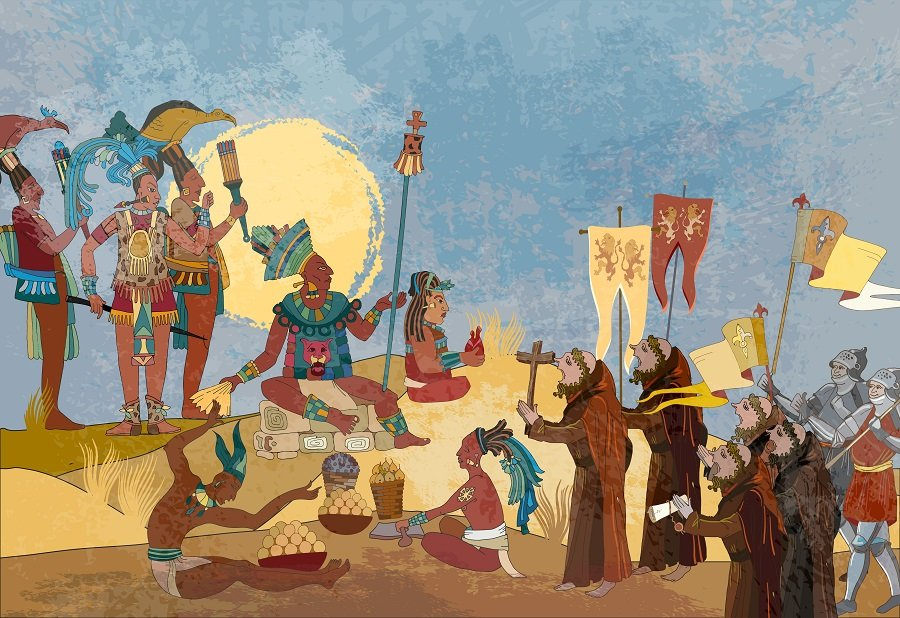 Mayan painting showing Spanish Conquest