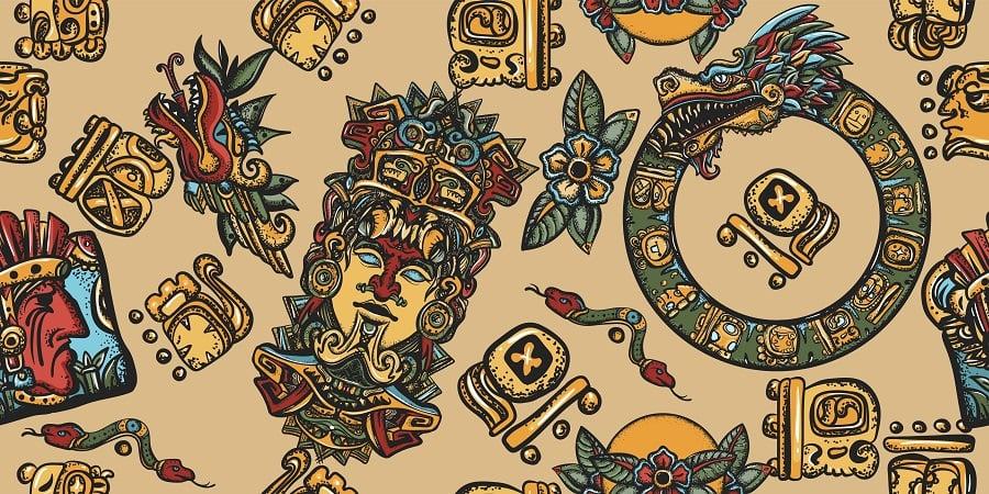 Mayan pattern. Ancient mexican civilization. Aztec, Inca. Golden glyphs of Kukulkan totem