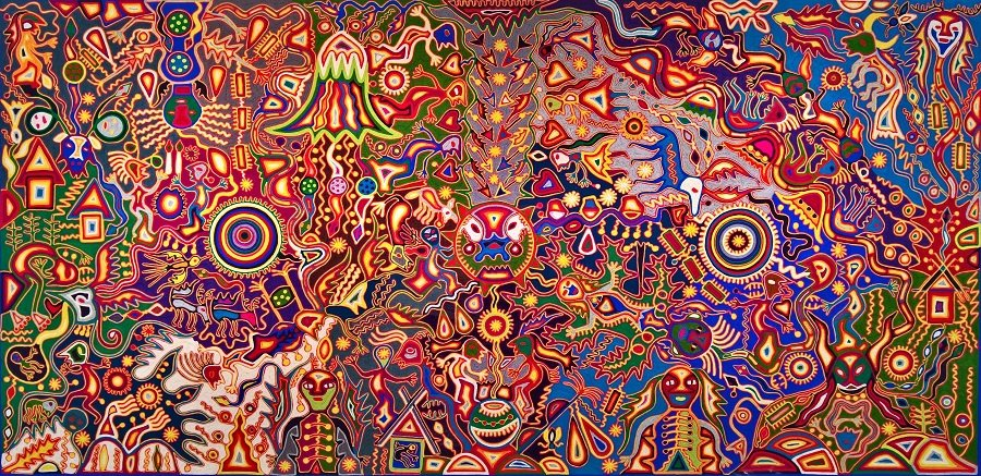 Colorful symbolic Mexican artwork
