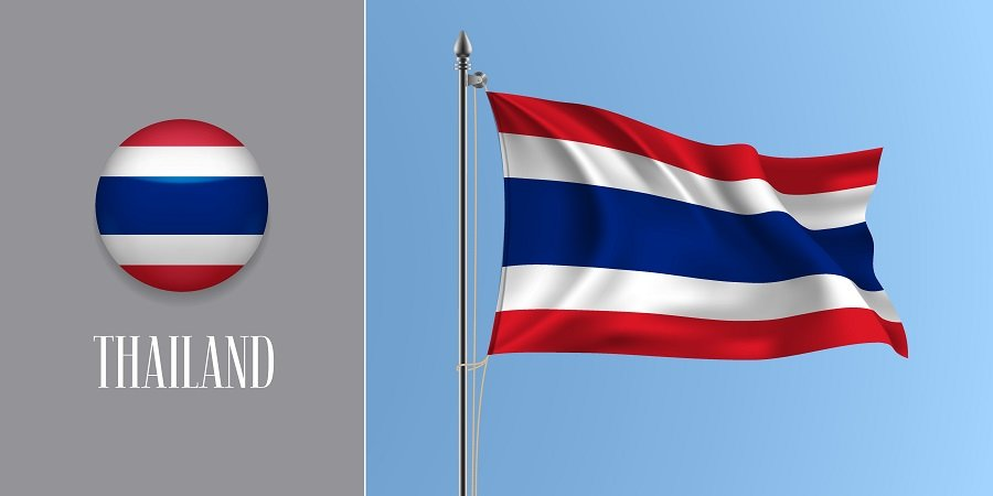 Thailand flag in red, white and blue colors