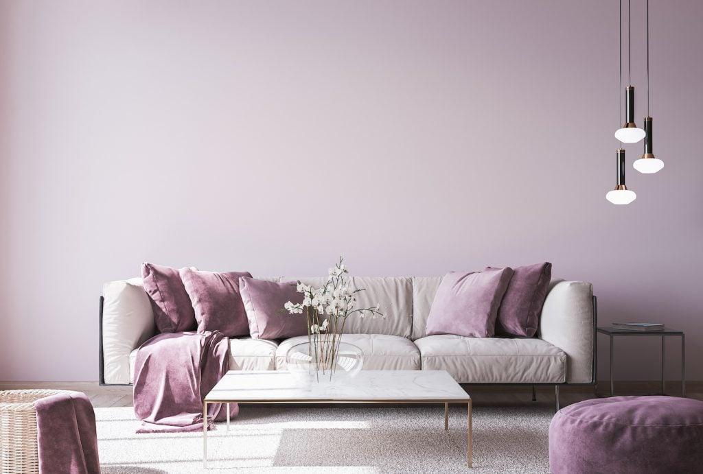 Interior design with violet living room