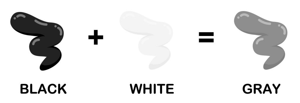 Illustration shows how black and white combined makes gray color