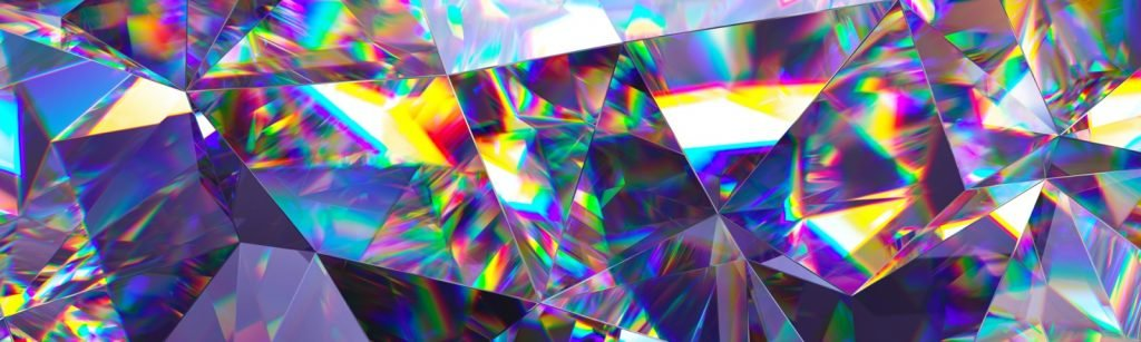Abstract crystal background with iridescent textured faceted gem