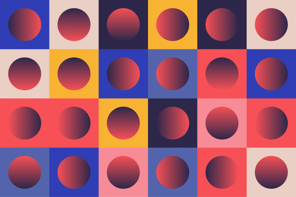 Abstract geometric patterns with gradients and contrasting colors