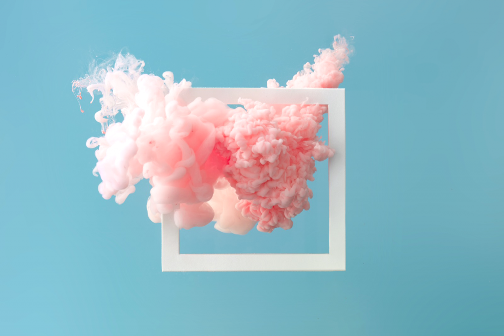 Abstract pastel pink color paint on pastel blue background