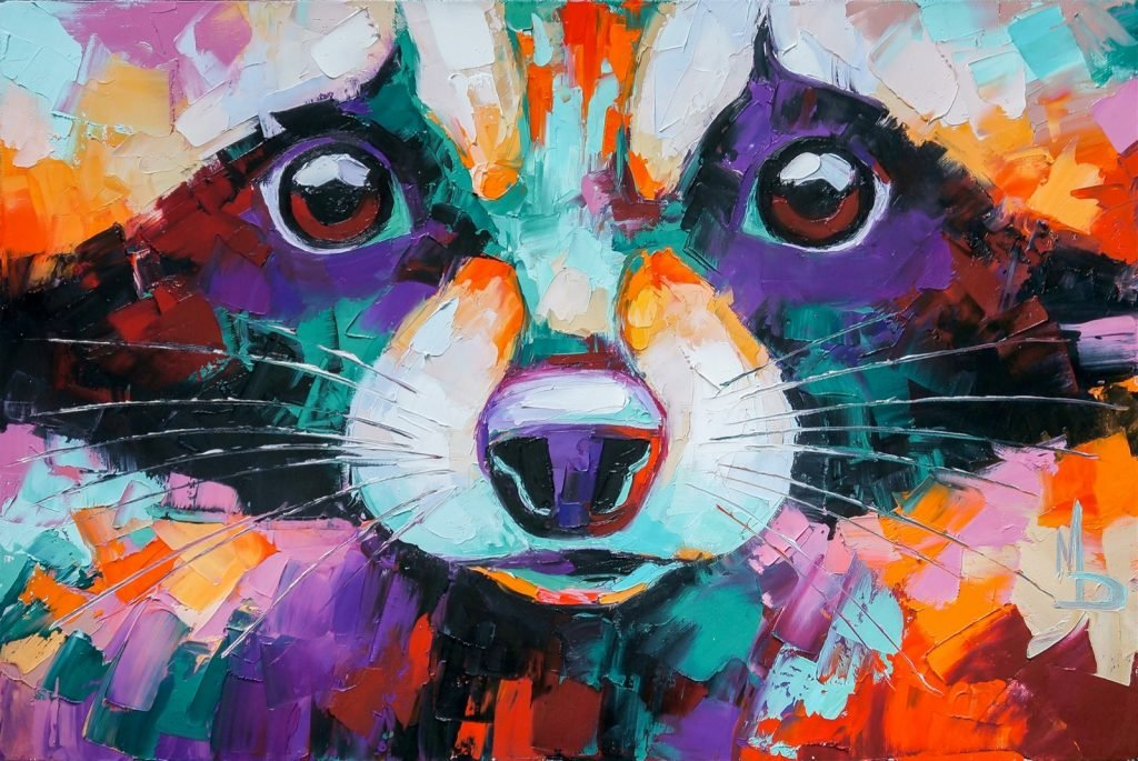 Abstract raccoon portrait painting in multicolored tones