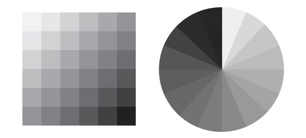 Achromatic color wheel and palette for achromatic color schemes
