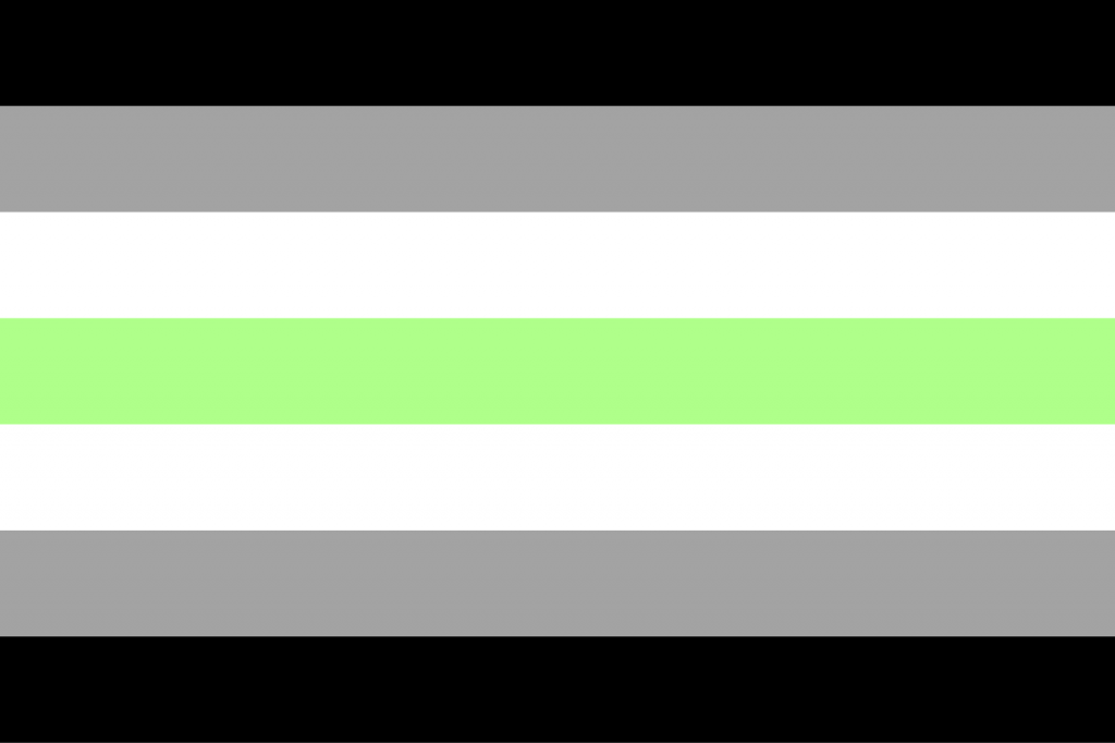 Agender pride flag in black, white, gray and green colors