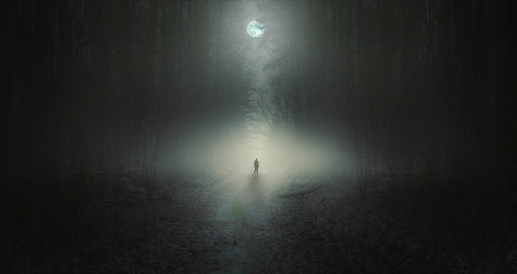 Alone strange man standing in a dark forest at night in the moonlight