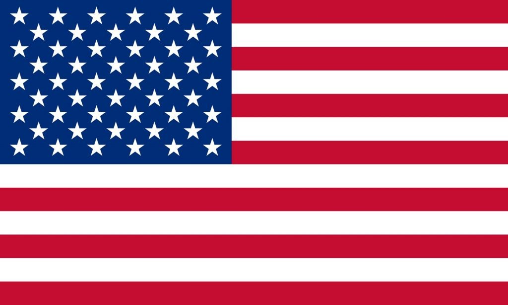 Red white and blue flag from America