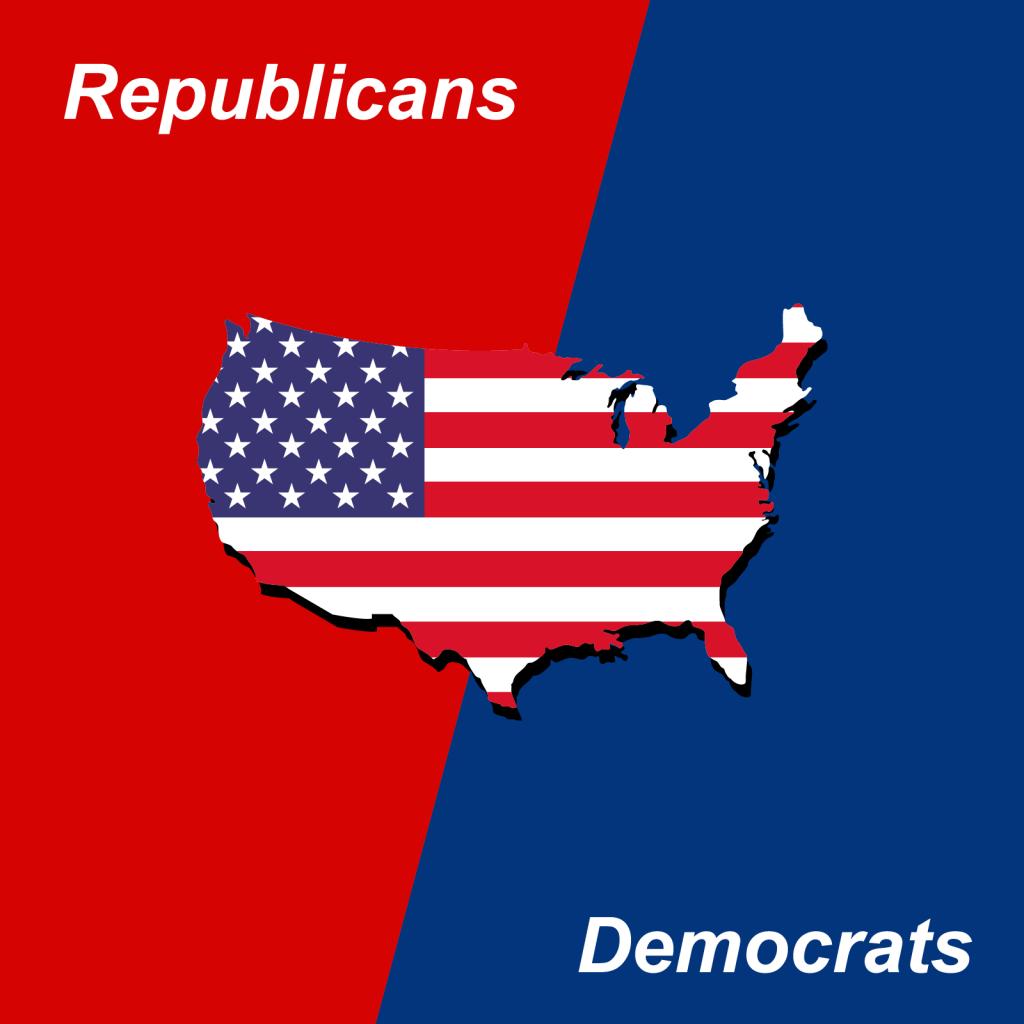 American politics republicans vs democrats red and blue