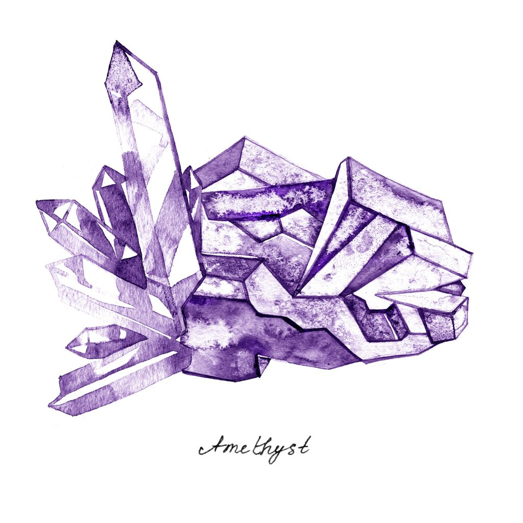Watercolor purple crystal amethyst cluster illustration