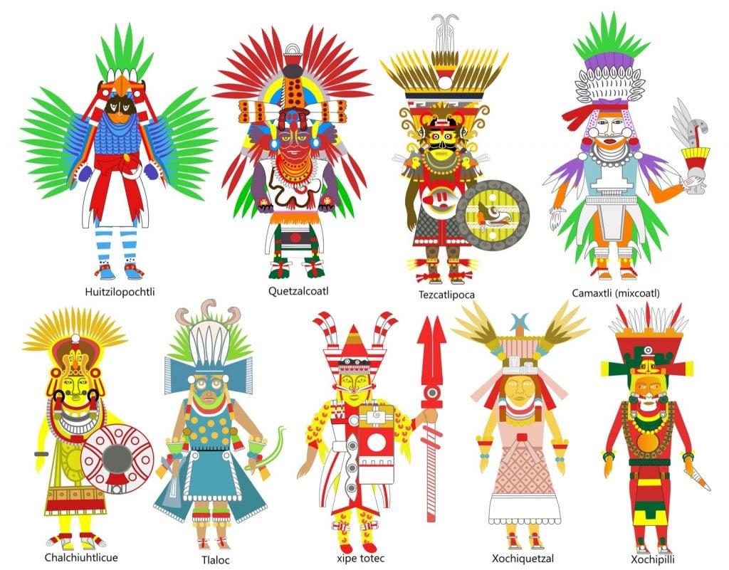 A set of ancient Aztec gods and goddesses