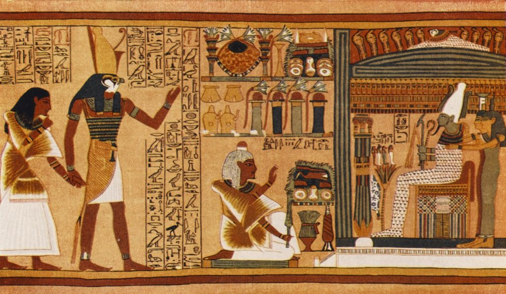 Ancient Egypt judgment of the dead in the presence of the deity Osiris