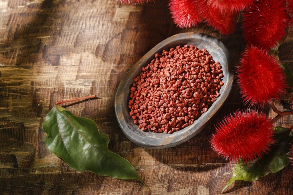 Annatto seeds used to create natural red pigments