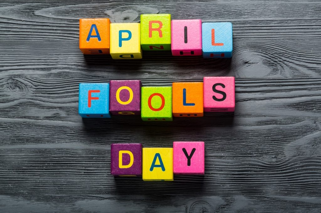 Colorful blocks with letters spelling April Fools Day