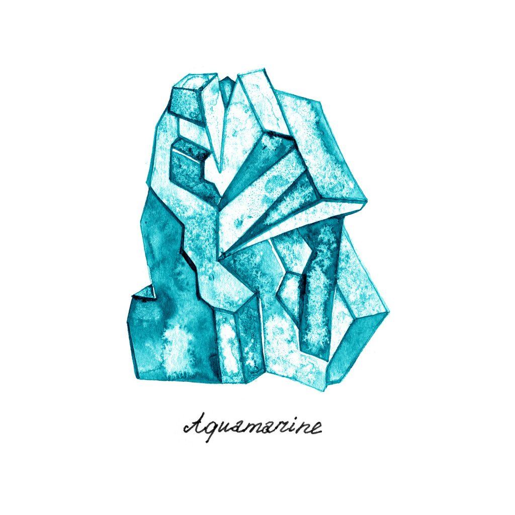 Blue crystal gem watercolor illustration