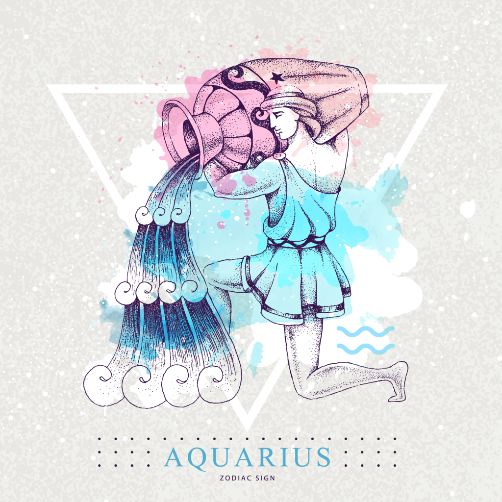 Aquarius zodiac sign with colorful man pouring water from jug