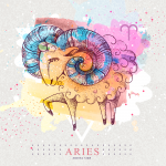 Aries zodiac sign with colorful ram