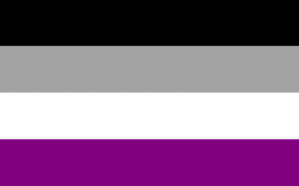 Asexual pride flag in black, gray, white and purple colors