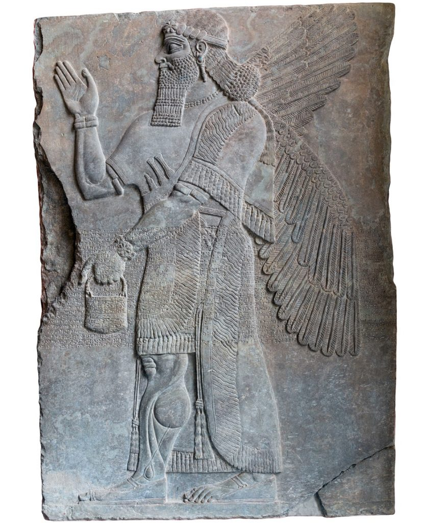 Assyrian art from ancient Mesopotamia of King Ashurnasirpal II on a gray wall