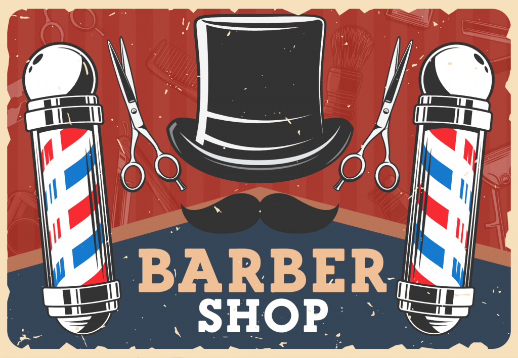 Barbershop retro poster with red, white and blue barber poles, mustache and top hat with scissors