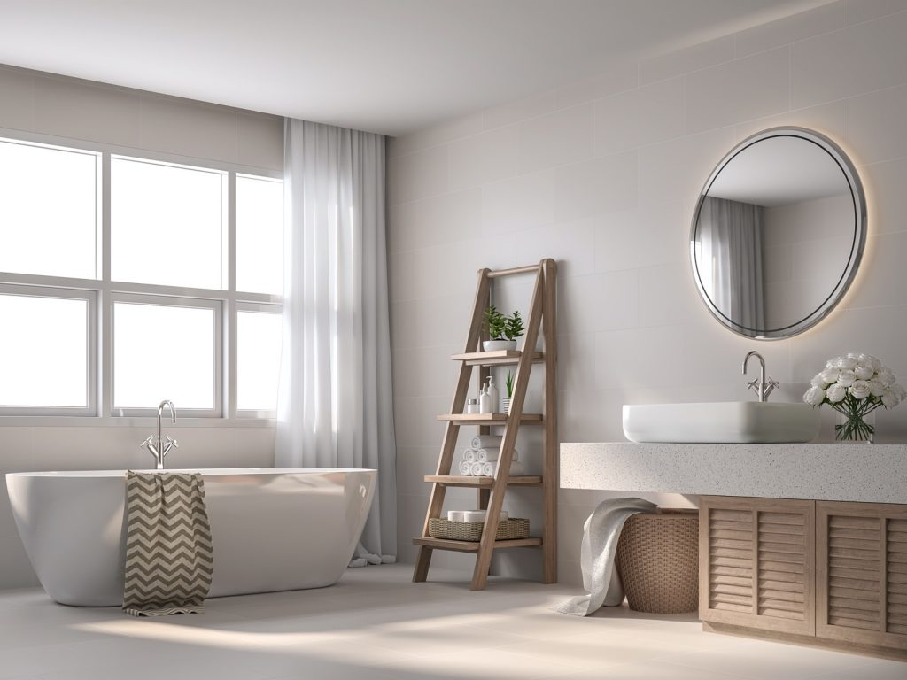 Modern contemporary style bathroom with beige tile walls decorated with wooden shelves and cabinet
