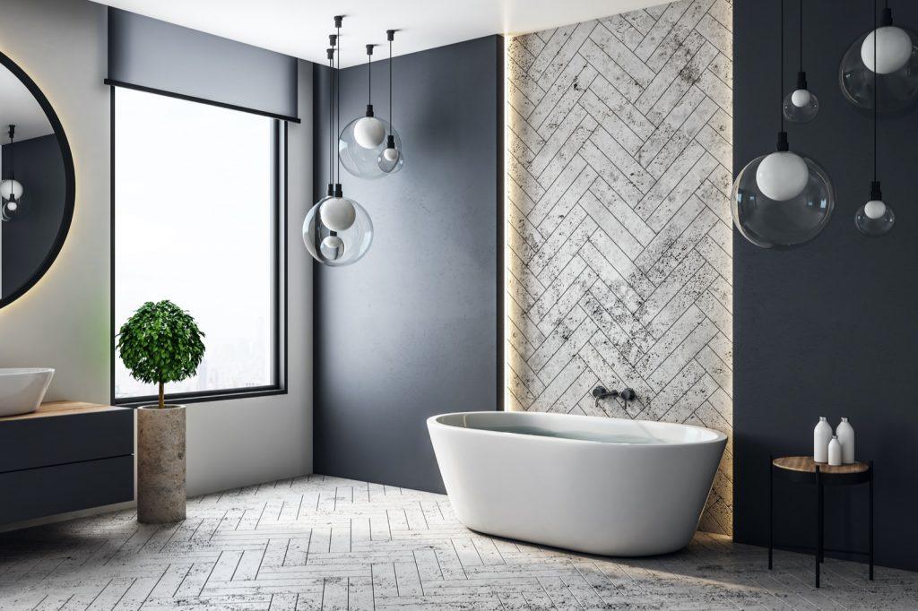 Contemporary bathroom interior with black colored walls