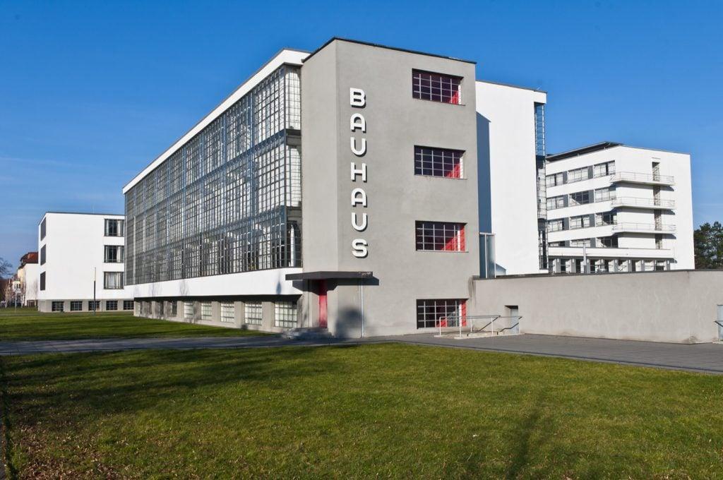 Photo taken outside of Bauhaus building in Dessau, Germany