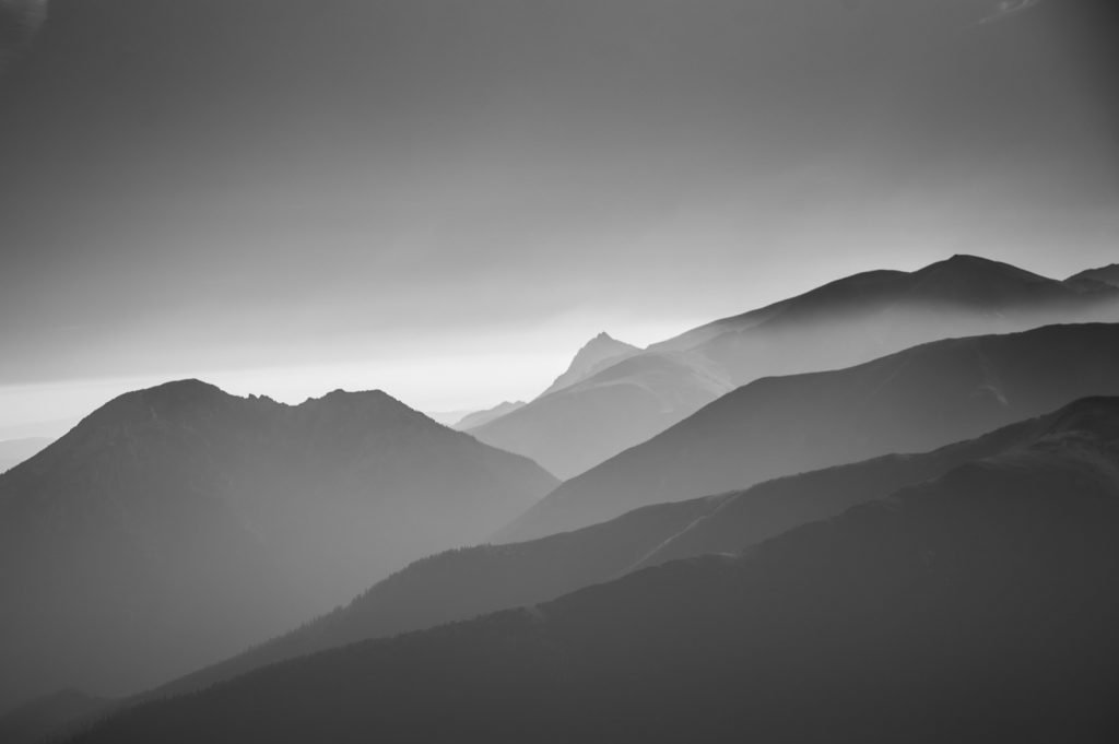 Beautiful gray mountain landscape with an artistic monochrome look