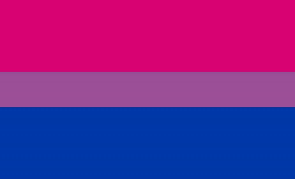 Bisexual pride flag with blue, pink and purple colors