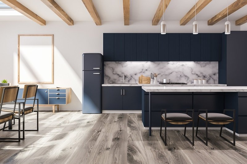 White studio flat kitchen interior with white marble wall, black countertops and fridge, a bar with chairs. 3d rendering Vertical mock up poster