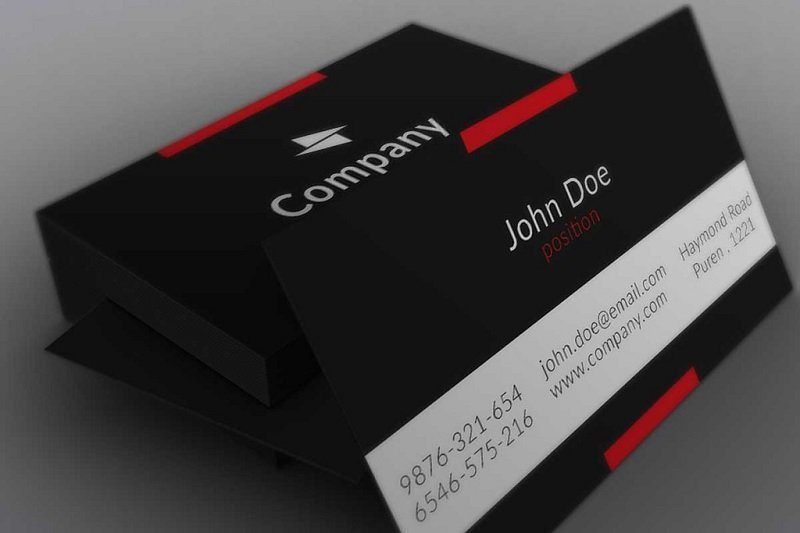 business card in black and red