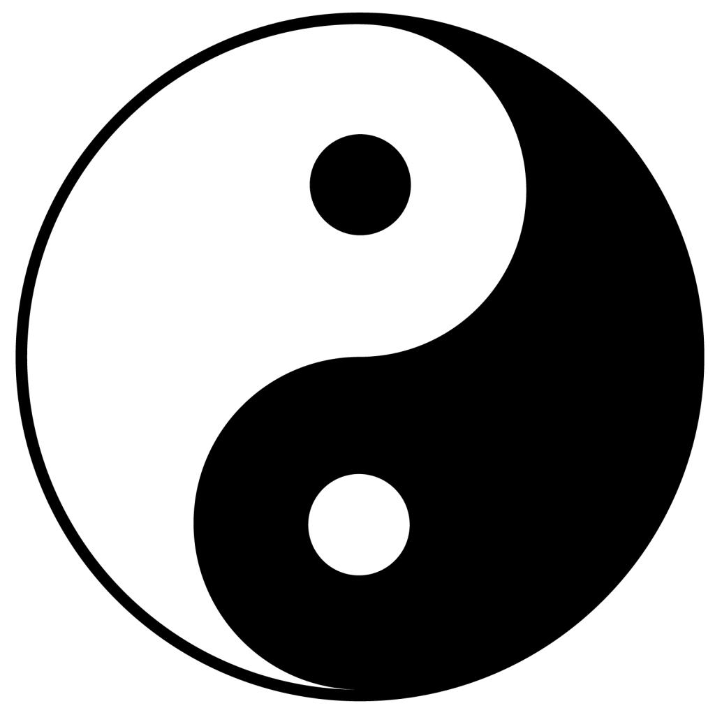 Black and white Yin Yang symbol isolated on bright background