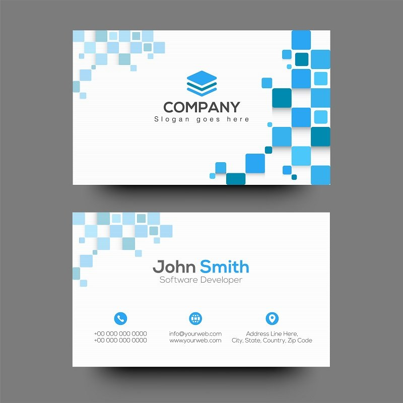 business cards in white and blue
